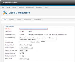 global configuration settings