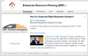 An example of resolving quries of Prospect customers on Linkedin Group